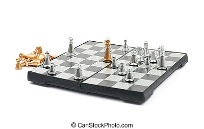 Checkmate on a board of chess, composition isolated over the...