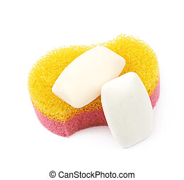 Bath sponge isolated - Red and yellow bath sponge with soap...