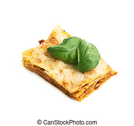 Single slice of lasagna isolated