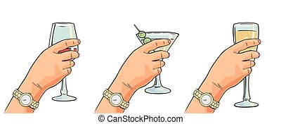 Female hand holding a glass of cocktail, wine, champagne....