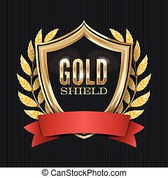 Golden Shield With Laurel Wreath And Red Ribbon. Vector Illustration