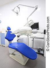 intérieur, dentaire, salle