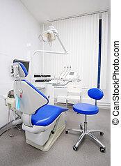 interno, dentale, stanza