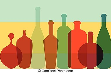 Colorfull bottles background. Art concept.