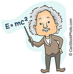 Albert Einstein pointing to Emc2 with Clipping Path