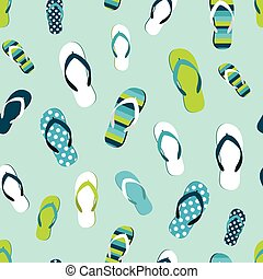Flip flop color summer pattern. Seamless repeat background....