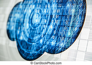 Abstract tech binary blue picture taked from perspective