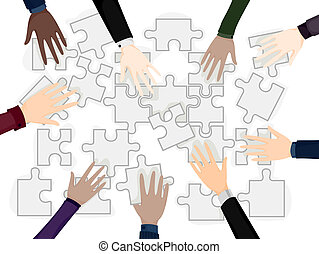 Business Team Problem Solving - Business Hands on Puzzle...