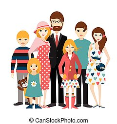 Big family with many children. Man and woman in love,...