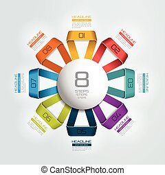 8 steps connected circle, round infographic. Vector...
