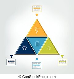 Triangle, 4 step infographic, chart. Vector illustration.