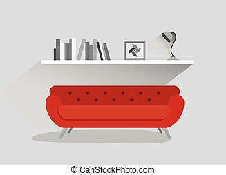 Retro red sofa and book shelf with lamp. Flat design vector illustration.