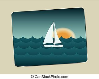 Sunset, sailboat and sea with waves