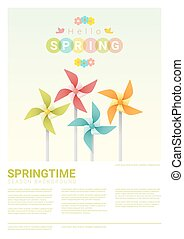 Hello spring background with colorful pinwheels 5
