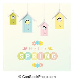 Hello spring background with little birds in birdhouses 2