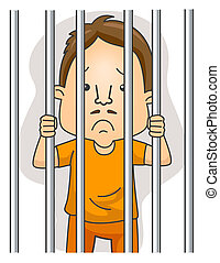 Behind Bars - Man behind Bars with Clipping Path