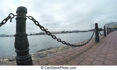 Chain fence on embankment of the Neva
