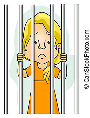 Behind Bars - Woman Behind Bars with Clipping Path