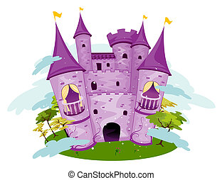 Purple Castle with Clipping Path