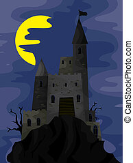 Dark Castle on top of a Hill