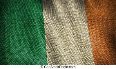 Burlap Flag of Ireland. - Beautiful animation of Irish gunny...