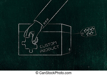 product customization concept: hand holding piece of puzzle...