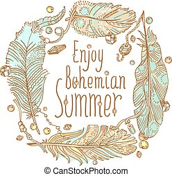 Boho style design for card, invitation, party poster . Free...