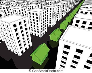 Row of green houses among many blocks of flats