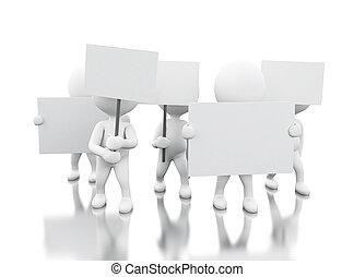 抗議, 白色,  3D, 人們