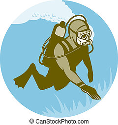 scuba diver diving  - illustration of a scuba diver diving