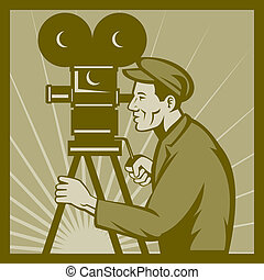 Vintage movie film camera director - illustration of a...