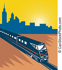 Speeding passenger train city skyline - illustration of a...