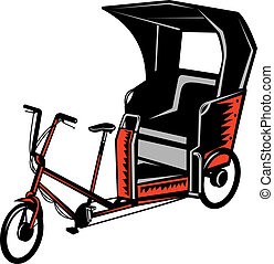 Cycle Rickshaw isolated - illustration of a Cycle Rickshaw...