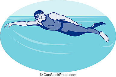 Triathlon athlete swimming freestyle - illustration of a...