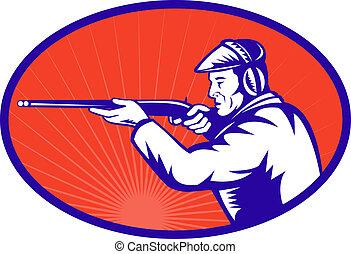 escopeta, Apuntar, cazador, lado,  rifle
