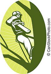 tree surgeon arborist chainsaw - illustration of a tree...