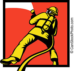 Firefighter or fireman aiming a fire - illustration of a...