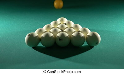 Russian billiards, the first blow, breaking the pyramid....