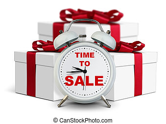 Alarm clock with gift, time to sale concept on white - Clock...