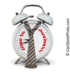 Clock with tie on white, time to business startup concept