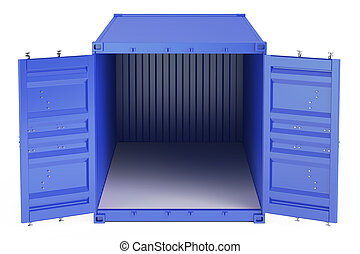 blue opened empty cargo container, front view. 3D rendering