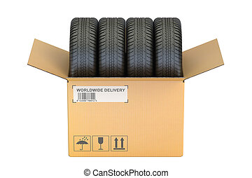 Cardboard Box with Tires, 3D rendering