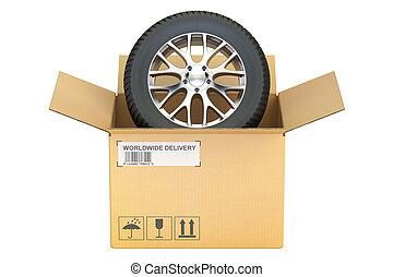 Opened Cardboard Box with Wheel, 3D rendering