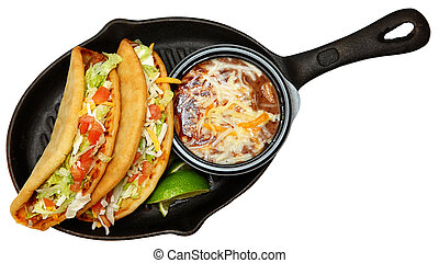 Chalupas and Pinto Beans in Skillet Over White