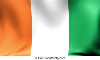 Ivory Coast Flag. Background Seamless Looping Animation. 4K...