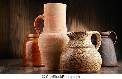 Composition with old pottery. Kitchen dishes