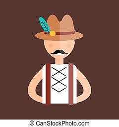 Oktoberfest man vector illustration. - Man in traditional...