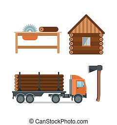 Woodworking cartoon tools icons vector illustration -...