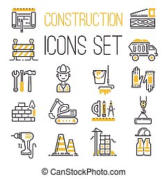 Construction icons set vector. - Outline web icons set...