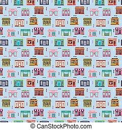 Shop facade vector pattern pattern. Restaurant food...
